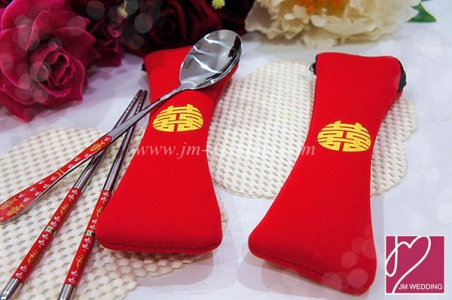 WFS2002 Red Spoon And Chopstick Favor - As Low As RM 3.30 /Pc