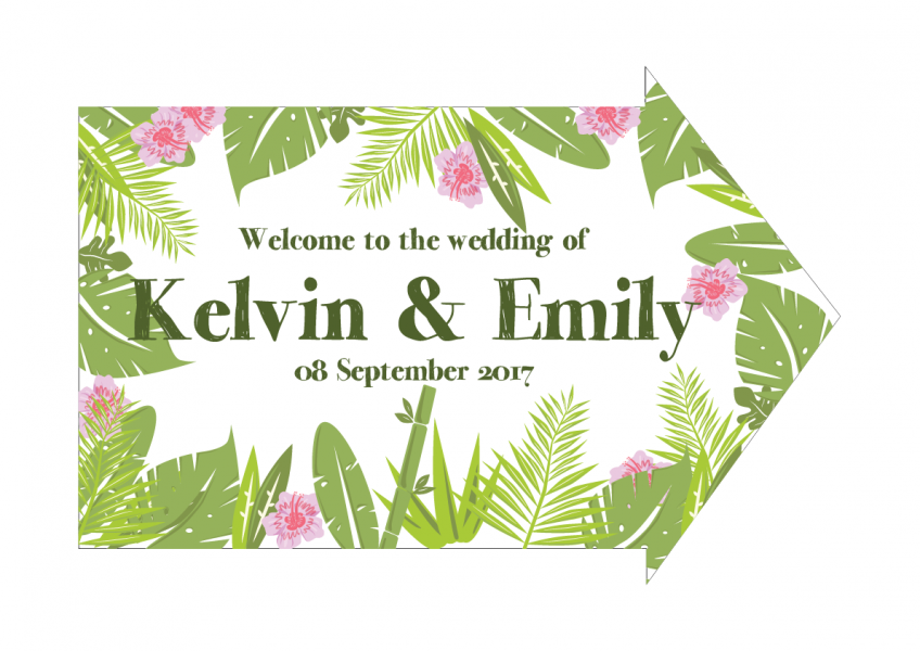 SBG3029 Personalize Bride and Groom Signs / Sign Arrow