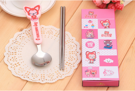 BFS2008 Pink Cartoon Spoon & Chopstick Baby Favor - As Low As RM3.10 / Pc