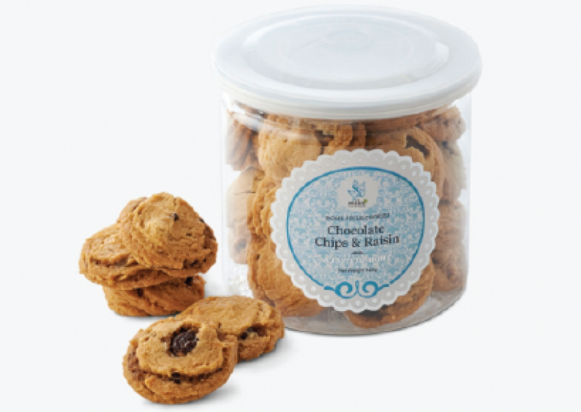 Mika Cookies Can - Chocolate Chips& Raisin  / Oatmeal & Chocolate Chips  Net 120g (Min 50 cans)