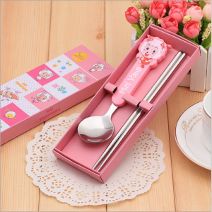 BFS2004 Pink Cartoon Spoon & Chopstick Baby Favor - As Low As RM3.10 / Pc