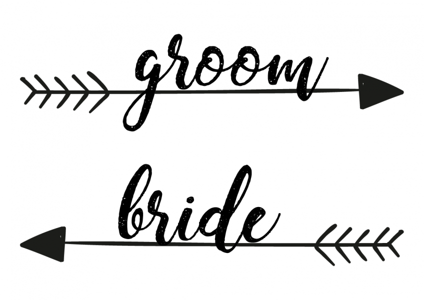 SBG3001 Personalize Bride and Groom Signs / Sign Arrow