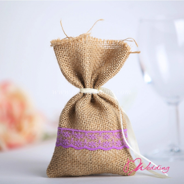 WBU2015 Simple Lace Favor Bags (Natural@4 Options)  - As Low As RM2.70 / Pc