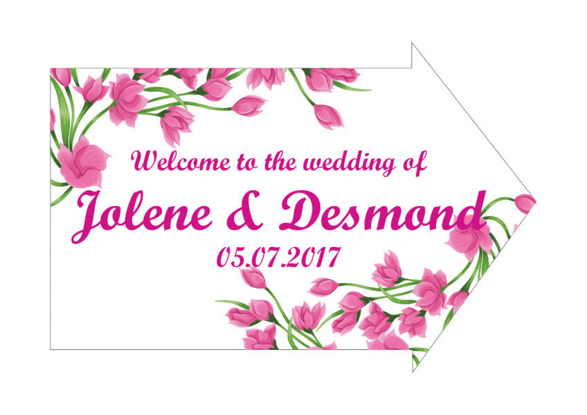 SBG3028 Personalize Bride and Groom Signs / Sign Arrow