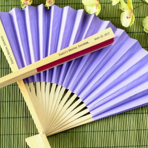 WFAN1006 Colored Personalize Paper Hand Fan (14 Colors) With Organza Pouch - As Low As RM2.90 / Pc