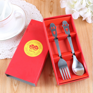 "WFS2047 ""Smile"" Red Cartoon Fork & Spoon Teatime Set - As Low As RM 2.20 / Set"