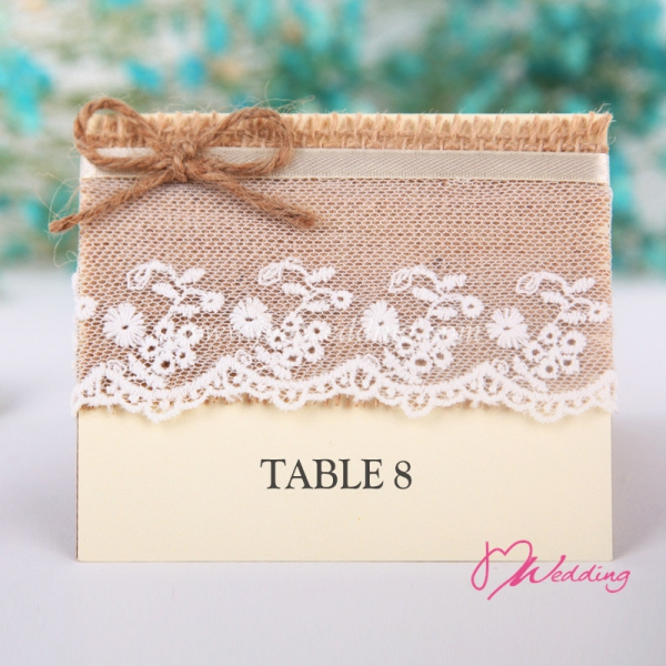 WBU2010 Burlap Lace Table Card (Natural)  - As Low As RM2.40 / Pc