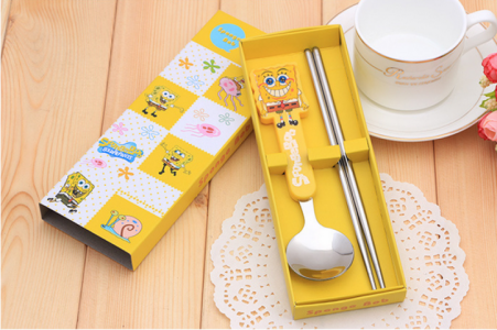 BFS2007 Yellow Cartoon Spoon & Chopstick Baby Favor - As Low As RM3.10 / Pc