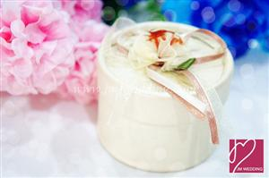PHBR3009-6 White Flower Round Candy Box - As Low As RM2.20 /Pc