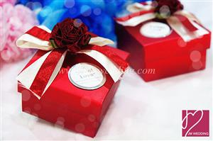 PLBS3001-1 Red Rose Square Paper Box With 2Color Ribbons (Fold) - As Low As RM1.30 / Pc