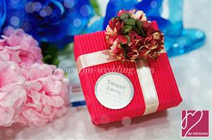 PLBS3005-7 Hydrangea Magenta Square Paper Box With Ribbon - As Low As RM3.00