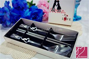 "WFS2005 ""Love"" Couple Silver Spoon Fork & Chopstick Set (Dining Set) - As Low As RM3.70 /Pc"