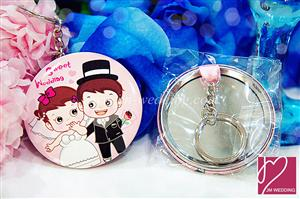 WHR2007 Sweet Couple Round Mirror Keychain  - As Low As RM2.10/Set