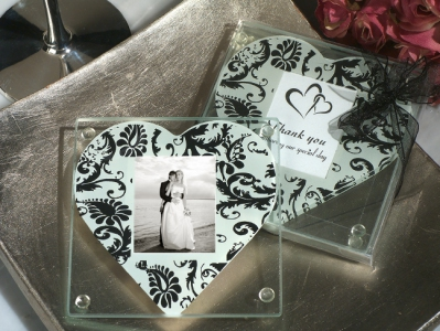 WCOA2073 A Classic Heart Damask Pattern Photo Coasters (2Pcs)  - As low as RM2.99 / Set