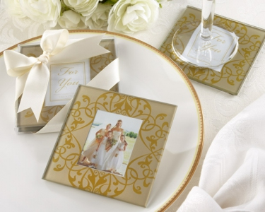"WCOA2059 ""Golden Brocade"" Elegant Glass Photo Coasters (2Pcs)  - As low as RM2.99 / Set"