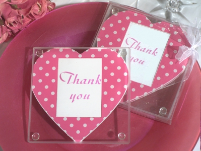WCOA2083 Pink and White Dot Heart Design Photo Coasters (2Pcs)  - As low as RM2.99 / Set