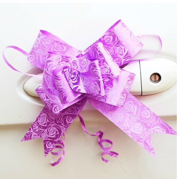 WPF1002-2  Color Roses Pull Flower Ribbon 5cm (4colors) (10pcs in 1 ) (Suitable for Car Door Handle)