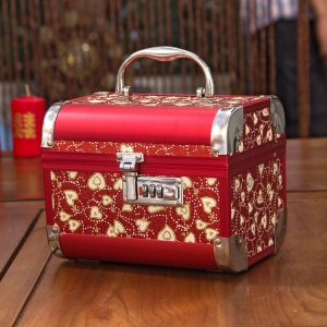WJB1002 Red Oriental Jewellry Box with lock / each