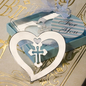 WBM2041 Blue Blessing Cross Bookmark Favors