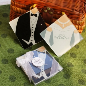 WCOA2093 Bride and Groom Glass Coaster (2Pcs) - As Low As RM3.31 /Set