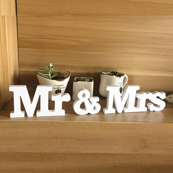 PPDC1037 Mr & Mrs Wood Alphabet Decoration/set  (white/red) - As Low As