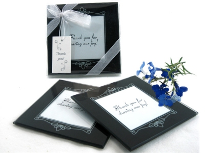 "WCOA2065 ""Memories Forever"" Glass Photo Coasters in Black (2Pcs)  - As low as RM2.99 /Set"