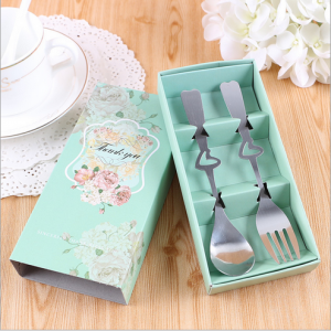 "WFS2041 ""Thanks You"" Green Flower Fork & Spoon Teatime Set - As Low As RM 2.20 / Set"