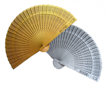 WFAN1008 Painted Sandalwood Fans (Gold/Silver) - As Low As RM4.50 / Pc