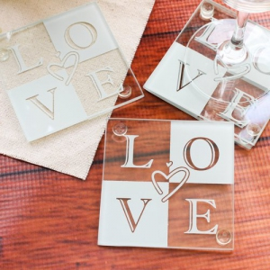 "WCOA2041 Famous ""Love"" Glass  Coasters (2pc) - As Low As RM2.89 /Set"