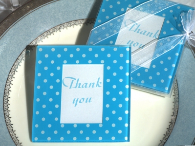 WCOA2078 Blue and White Dot Pattern Photo Coasters (2Pcs)  - As low as RM2.99 / Set