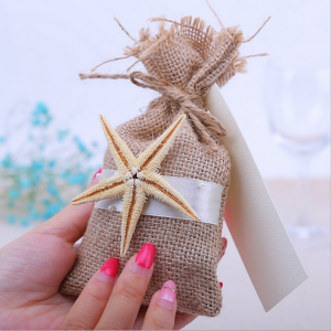 WBU2008 Burlap Starfish Favor Bags (Natural)  - As Low As RM2.70 / Pc