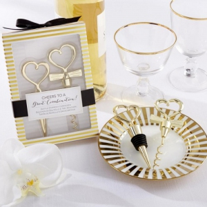WWS2019 Bride and Groom Heart Bottle Stopper and Corkscrew Set - As Low As RM8.80/Set