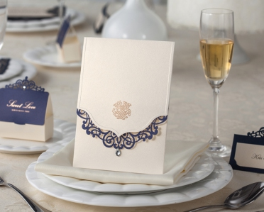 "WI8502  ""LoveMark"" Purple Crystal Invitation Card (Western) - As Low As RM5.99 /Pc"