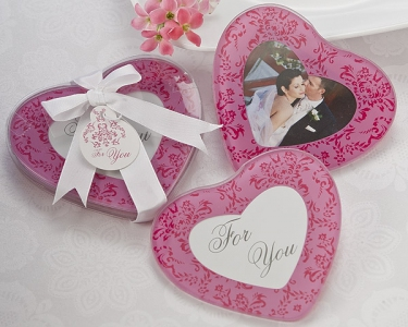 "WCOA2067 ""Pretty in Pink"" Heart Glass Photo Coasters (2Pcs)   - As Low As RM3.09 /Set"