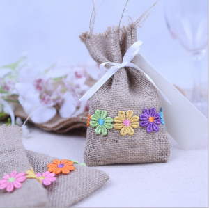 WBU2007 Burlap Flower Favor Bags (Natural)  - As Low As RM2.70 / Pc