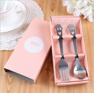 "WFS2045 ""Smile"" Peach Cartoon Fork & Spoon Teatime Set  - As Low As RM 2.20 / Set"