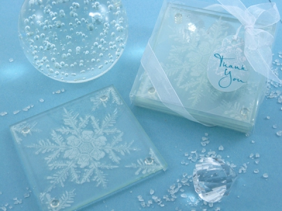 WCOA2068 Frosted Snowflake Glass Coasters (2Pcs)  - As low as RM3.59/Set