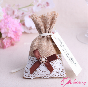 WBU2001 Lace Favor Bags (Natural@9 Options)  - As Low As RM2.70 / Pc