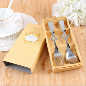 "WFS2038 ""Thank You""Yellow Fork & Spoon Teatime Set - As Low As RM 2.20 / Set"