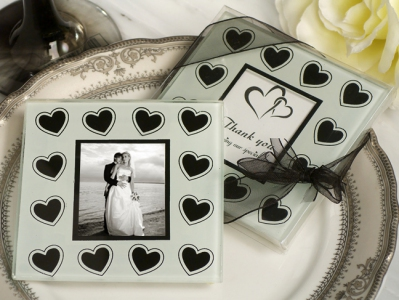 WCOA2077 Black And White Hearts Theme Photo Coasters (2Pcs)  - As low as RM2.99 / Set