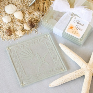 WCOA2042 Shell and Starfish Frosted Glass Coasters (2Pcs) - As Low As RM2.89 /Set