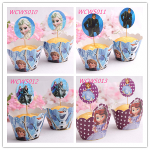 WCW5010/011/012/013 Cartoon Cup Cake Wrapper & Flags - As Low As RM0.55/ Pc