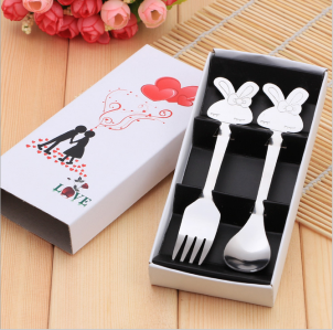 WFS2018 Cute Couple Rabbit Fork & Spoon (Teatime Set) - As Low As RM 2.80 / Set