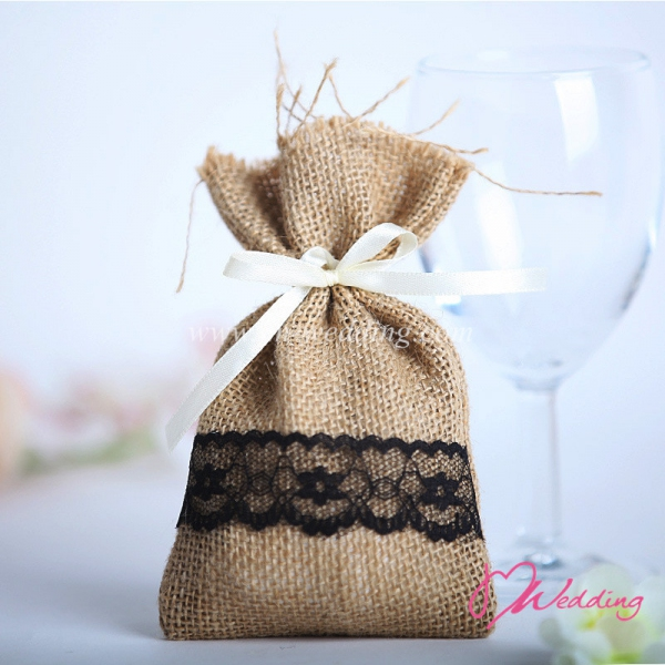 WBU2013 Simple Lace Favor Bags (Natural@5 Options)  - As Low As RM2.70 / Pc