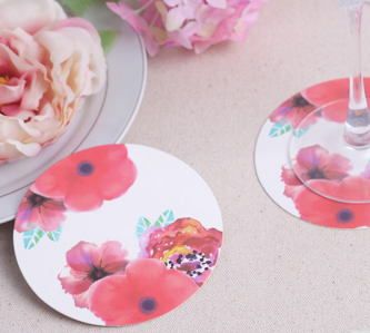 "WCOA2038  ""In Bloom"" Botanical Paper Coasters (12Pcs) - As low as RM3.00 / Set"