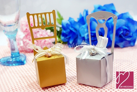 WPB2011 Gold/Silver Chair Box Favor - As Low As RM0.40 /Pc