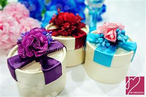 PHBR3010 Sparkle Rose Round Favor Box with Ribbon- As Low As RM2.20 /Pc
