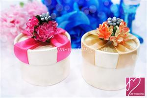 PHBR3011 Colorful Hydrangea Round Favor Box with Ribbon- As Low As RM2.20 /Pc