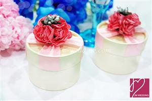 PHBR3012-3 Dark Pink Sparkle Rose Round Favor Box  - As Low As RM2.20 /Pc