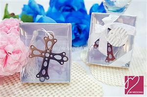 WBM2009 Blessing Silver Cross Bookmark Favors